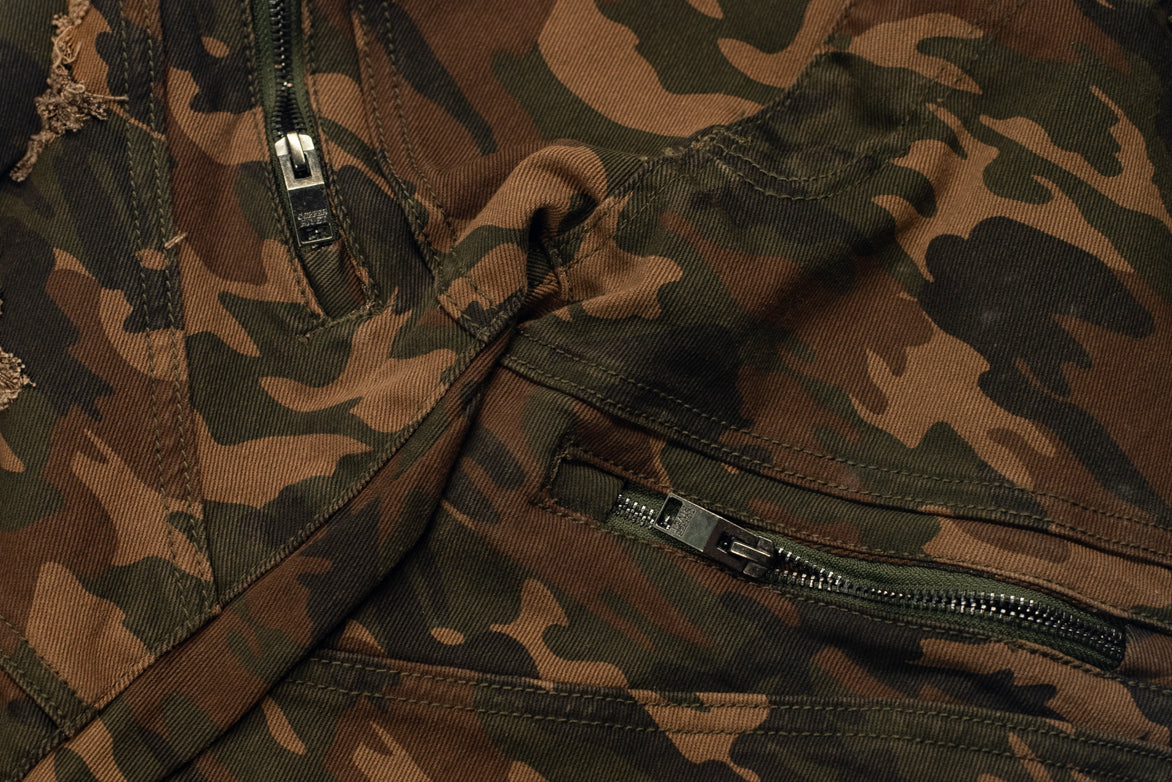 TWILL BIKER PANTS - WOODLAND CAMO