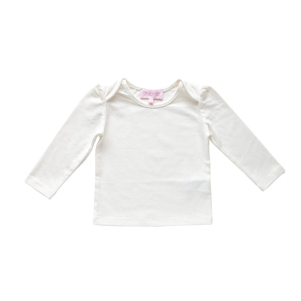 lily long sleeve tee - ivory pima knit