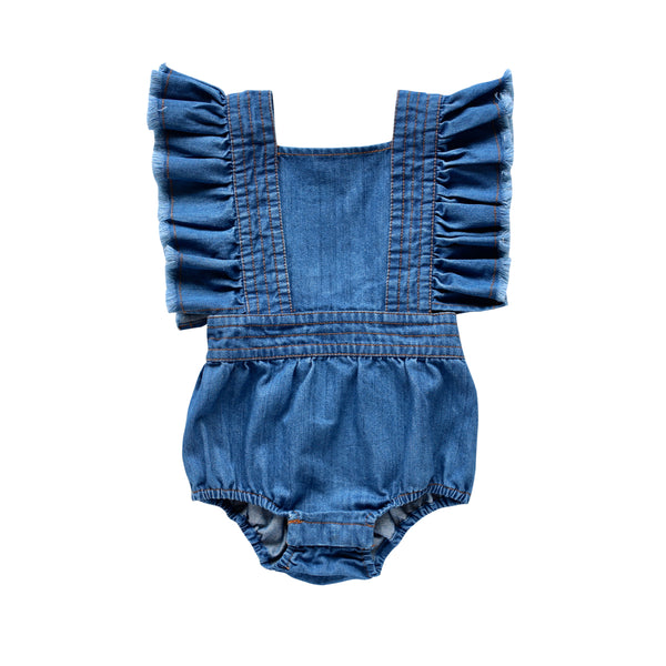maisie ruffle playsuit - vintage wash denim