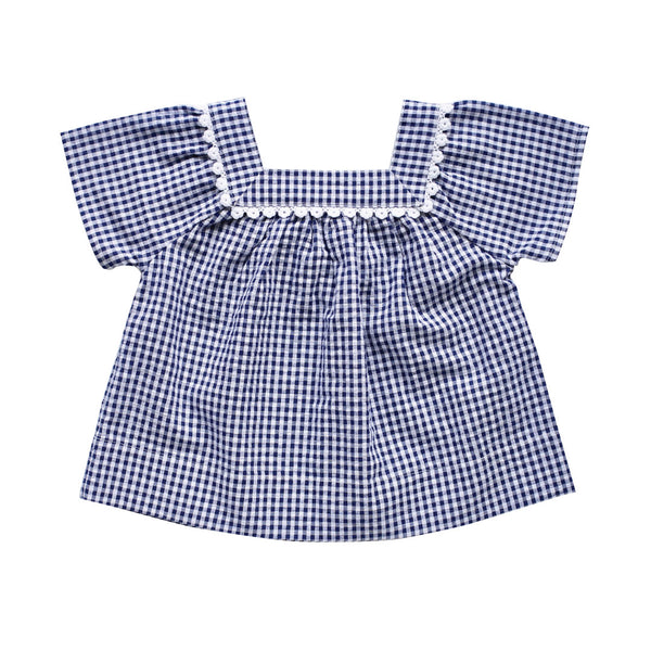 nellie smock top - indigo gingham seersucker