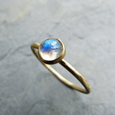 14k Gold Rose Cut Moonstone Stacking Ring