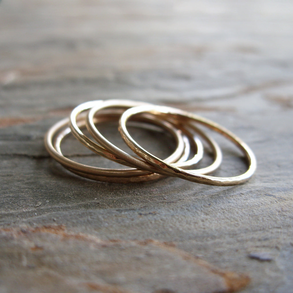 Five Golden Rings in 14k Yellow, White, or Rose Gold