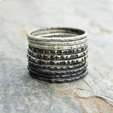 Sterling Silver Ombre Stacking Rings Set of 10 - Mixed Textured Skinny Bands in Black White and Gray