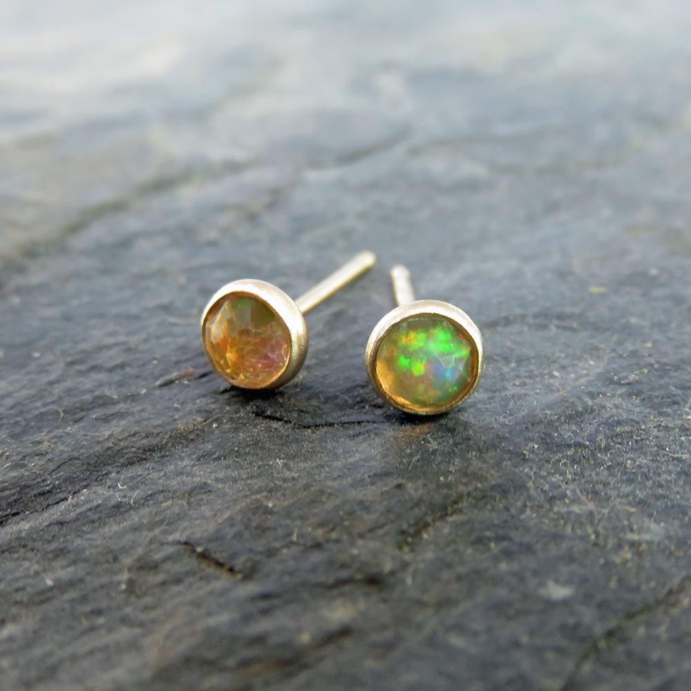 Solid 14k Gold Opal Earrings - Small 4mm Rose Cut Ethiopian Welo Opal Studs - October Birthstone Post Earrings - Simple Round Faceted Stone