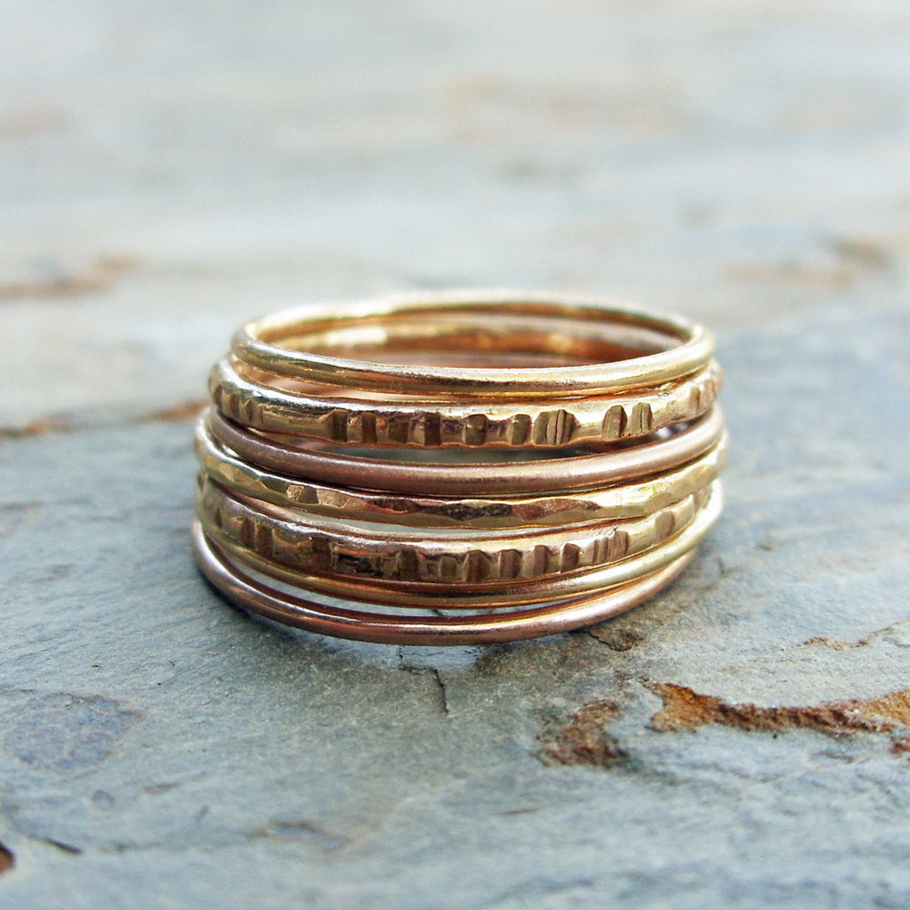 Set of Seven Solid 14k Rose and Yellow Gold Stacking Rings in Mixed Textures - Textured Skinny Gold Stacking Bands - Thin Gold Rings