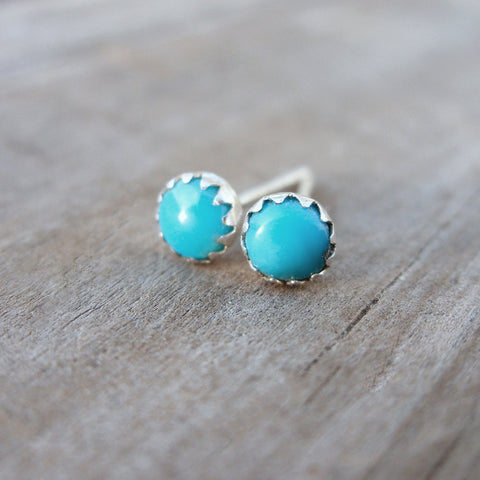 4mm Small Bright Blue Sleeping Beauty Turquoise Stud Earrings - Arizona Turquoise in Sterling Silver - December Birthstone