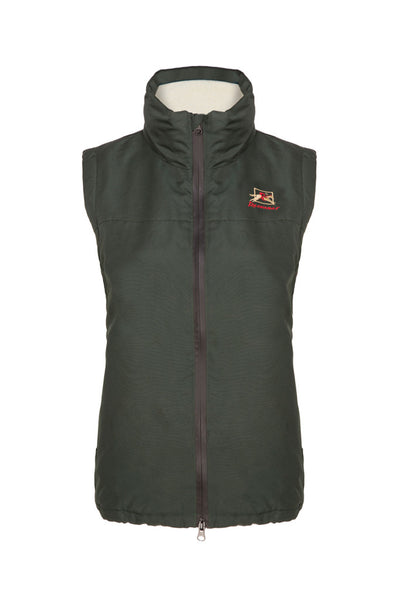 Paul Carberry PC Racewear Warmer - Fleece Sleeveless Horse Riding Gilet With Hood Water Resistant - Green
