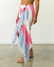 Tulum Skirt Pink and Blue Stripes