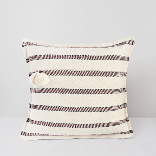 Handmade Square Jacquard textured Cushion with pompoms