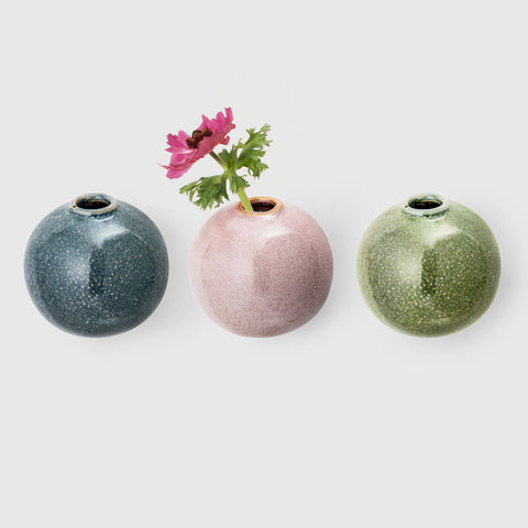 Three Handcrafted stoneware wall vases