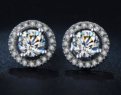 Classic Modern Solitaire Earrings w/Brilliant CZ