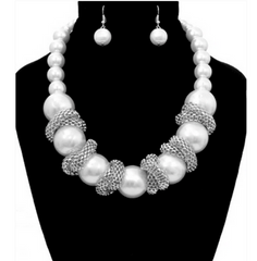 Pearl Statement Necklace & Earrings Set with Silver Tone Mesh Accent