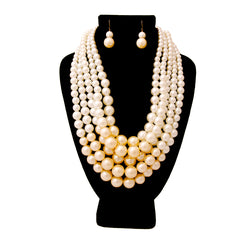 Urban Glam's Classy Miss Two-Toned Pearl Statement  Necklace & Earrings Set