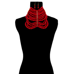 Urban Glam's Regal Red Pearl Statement Necklace & Earrings Set