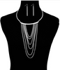Cascading Chains Choker Necklace with Rhinestone Accents