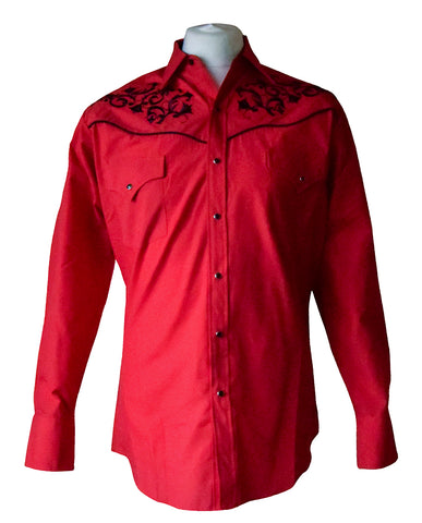 Ely Red and Black Floral Embroidered Western Shirt