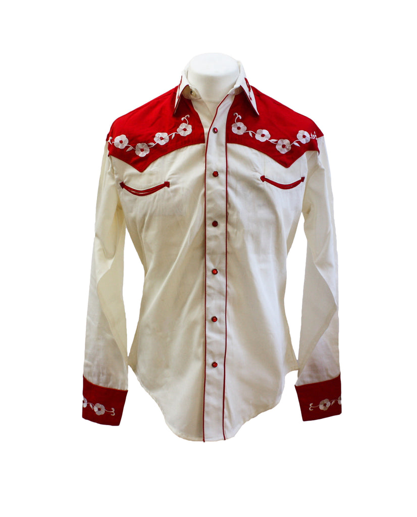 "Rockmount 2-Tone Cream and Red ""Loving You"" Embroidered Western Cowboy Shirt"