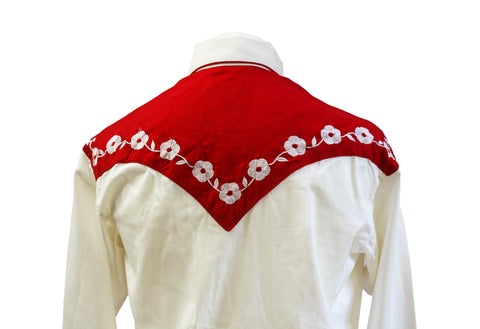 "Rockmount 2-Tone Cream and Red ""Loving You"" Embroidered Western Cowboy Shirt Back Close Up"