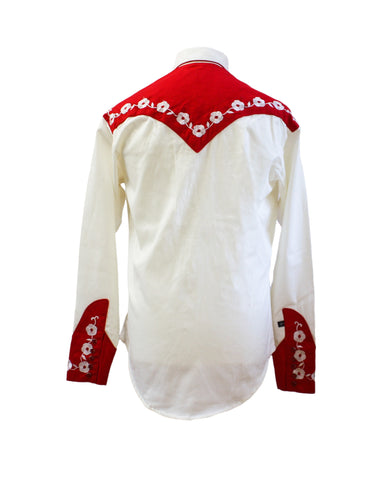 "Rockmount 2-Tone Cream and Red ""Loving You"" Embroidered Western Cowboy Shirt Back"