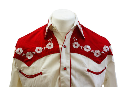 "Rockmount 2-Tone Cream and Red ""Loving You"" Embroidered Western Cowboy Shirt Front Close Up"
