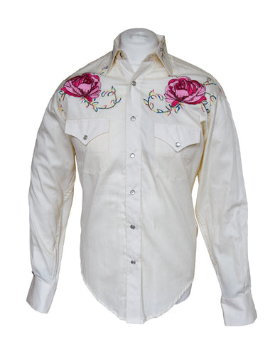 Rockmount Cream with Pink Flowers Embroidered Western Cowboy Shirt