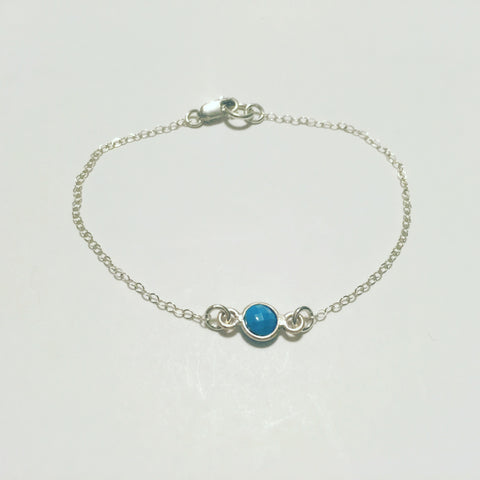 """Tiny Blue"" Sterling Silver Bracelet"