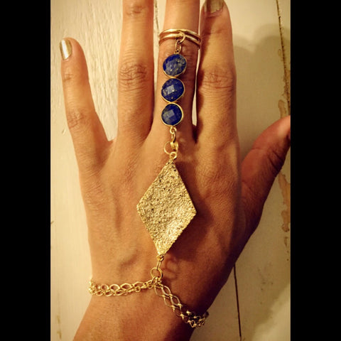 Ring-to-wrist Prosperity Lapis Lazuli Gemstone Bracelet