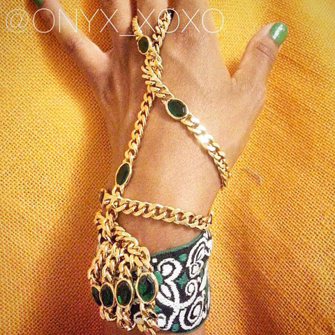 """Lady Jade"" One-of-a-kind Green, White & Gold Hand Chain"