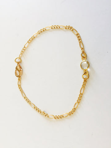 Jessi Single Trio Strand 14kt Gold Bracelet