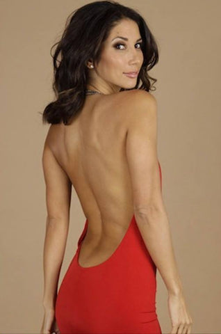Red Backless chain dress