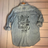 unil every cage is empty reworked denim shirt, sold by ethical fashion brand Viva La Vegan.