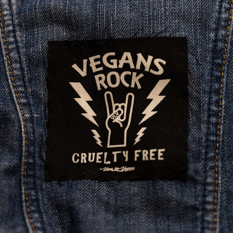 vegans rock patch, sold by ethical fashion brand Viva La Vegan.