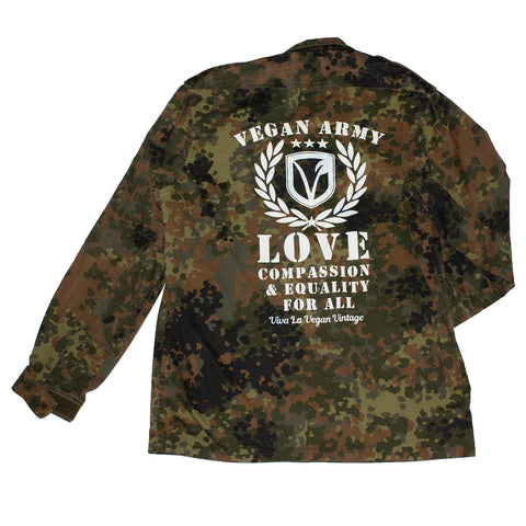 reworked army surplus jacket with Vegan Army print on the back by eco ethical brand Viva La Vegan