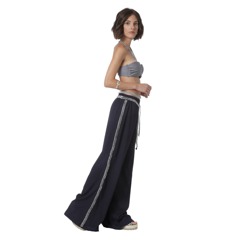 Antiope trousers-blue/silver-designed by alexandra koumba