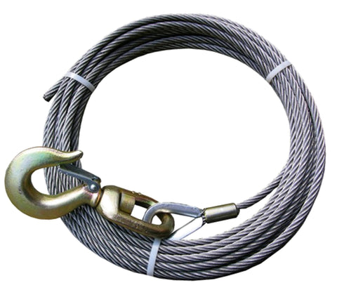 "4-12SC75S  -  1/2"" 75ft Steel Core Winch Cable w/ Swivel Hook"