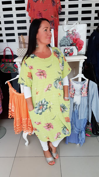 Funky Linen Dress With Pretty Print In Lime Green
