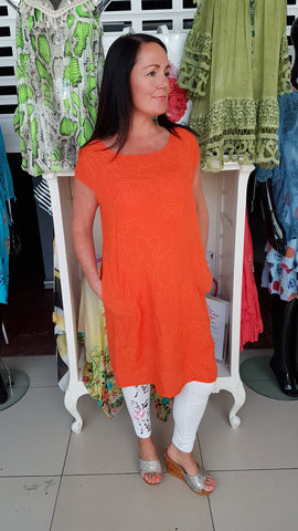 Pretty Linen Dress With Embroidery Detail In Orange