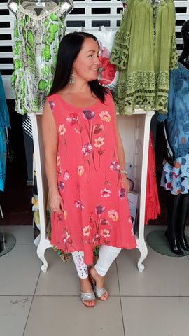 Linen Tunic Top/Dress With Floal Print In Coral