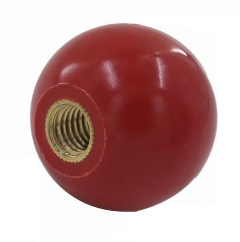 "1 7/8"" round plain RED shift knob w/ brass threaded insert"