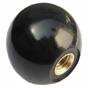 "2"" round plain BLACK shift knob w/ brass threaded insert"