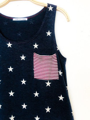 STAR PRINT TANK W/ STRIPED POCKET