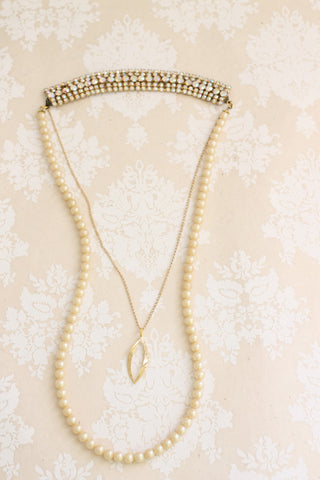 back necklace pearl and rhinestone bridal CHANGING CHANCES