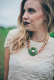 indie fashion bold lipstick green statement necklace hattitude jewels