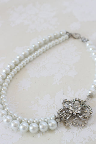 Silver brooch double pearl strand bridal necklace ISLA