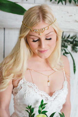 shoulder chain necklace with crystal pendant bohmian bride EARTH MEETS SKY