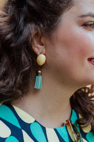 yellow vintage earrings with turquoise tassels handmade in toronto
