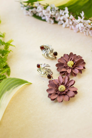 brown flower earrings