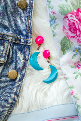 blue moon and hot pink earrings