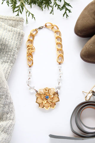 vintage inspired gold and blue sapphire dahlia brooch necklace