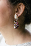 vintage purple rhinestone earrings from the 1940's handmade in toronto